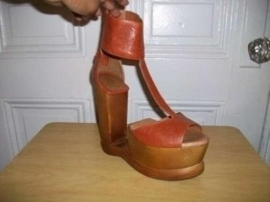 Jeffrey Campbell Archless T-strap Leather Wooden Wedge Sandal rust orange Platforms