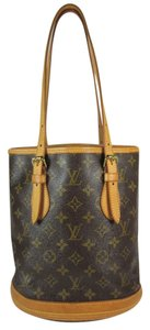 Louis Vuitton Bucket Tote Lv Logo Leather Shoulder Bag