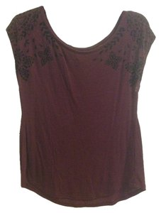 American Eagle Outfitters Velvet Design Maroon Cotton Top maroon, black