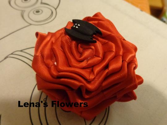Other Halloween hair accessories, Red Satin Rose with Black Bat on alligator clip.