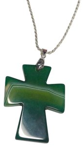 Other Cross Shaped Green Agate Gemstone Sterling Silver Necklace Large N361