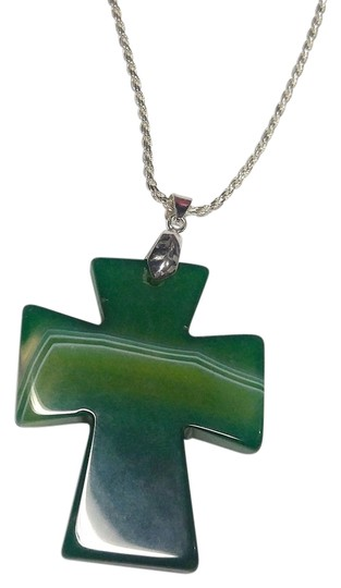 Other Cross Shaped Green Agate Gemstone Sterling Silver Necklace Large A153