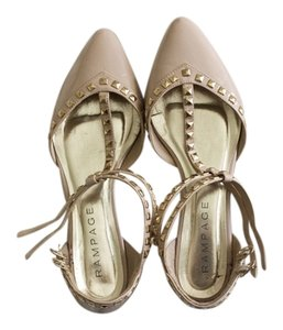 Rampage Studded Valentino Studded Nude Golden Studs Gold Studs Pinkish Nude pink Flats