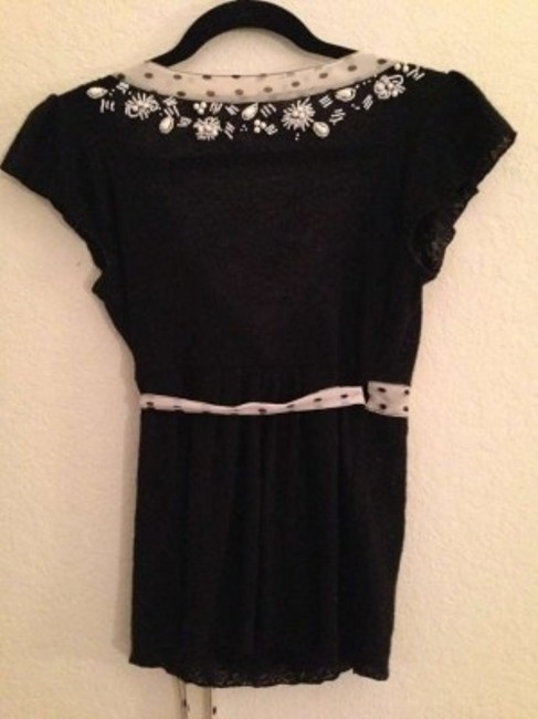 Anthropologie Embroidered Embellished Beaded Knit Wool Date Night Night Out Evening Casual Chic Boho Shell Top Black