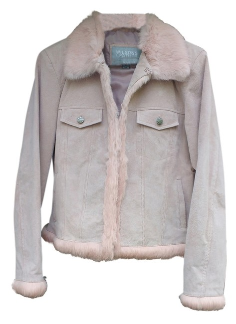 Wilsons Leather Soft Unique Vintage Pink Suede with Fur Leather Jacket