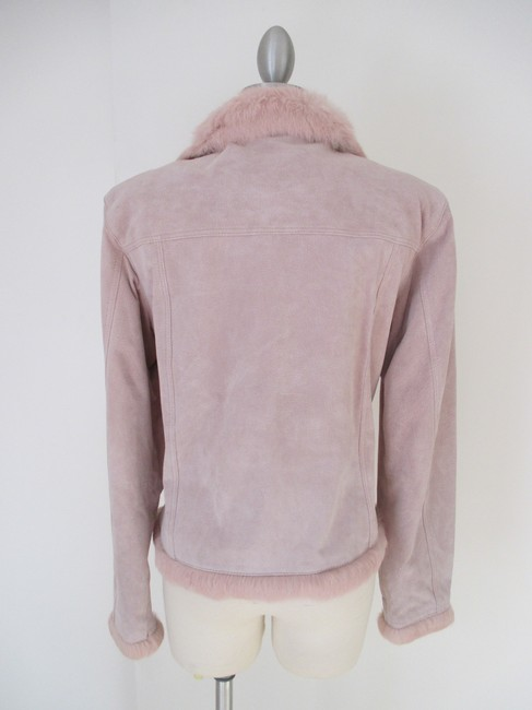 Wilsons Leather Soft Unique Vintage Pink Suede with Fur Leather Jacket Image 1