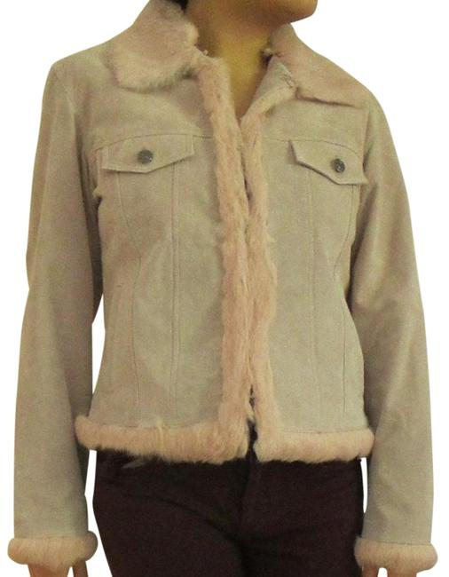 Wilsons Leather Soft Unique Vintage Pink Suede with Fur Leather Jacket Image 4