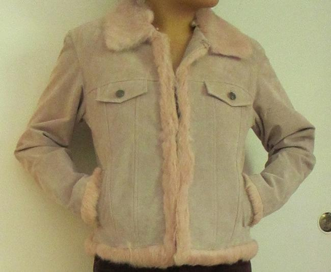 Wilsons Leather Soft Unique Vintage Pink Suede with Fur Leather Jacket Image 5