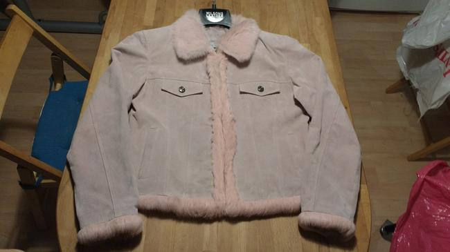 Wilsons Leather Soft Unique Vintage Pink Suede with Fur Leather Jacket Image 6