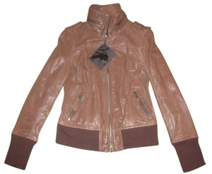 Mackage Leather Soft Distressed Brown Leather Jacket