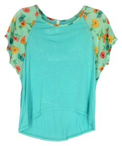 Manito Chiffon Sleeve Soft Knit High-low Tee Top Aqua Floral