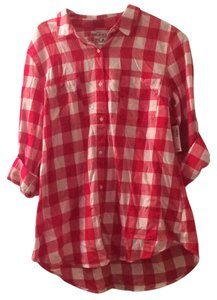 Old Navy Button Down Shirt Red and white