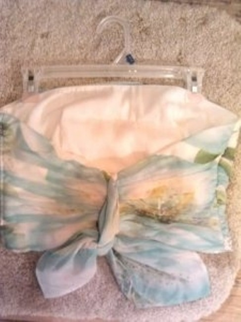 Kay Unger Silk Floral Pastel Dressy Chanel Designer Romantic Classic Top blue kay unger