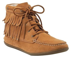 Sperry Topsider Moccasin Camel Fringe Gold-tone Lace-up Ankle Leather Suede Chestnut Boots