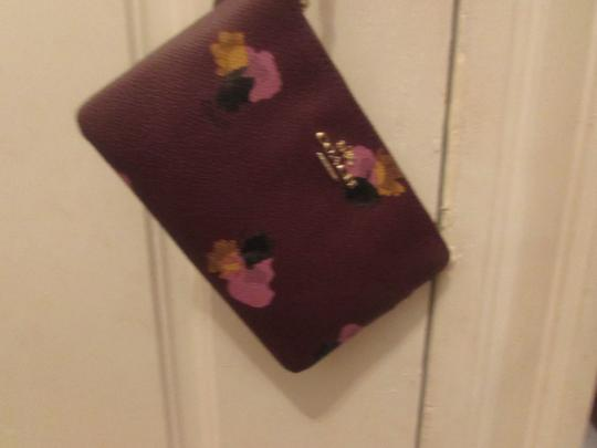 Coach Coated Canvas Wristlet in purple with flowers