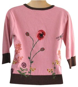 Nick & Mo Anthropologie Floral Embroidered Embellished Sweater Cardigan