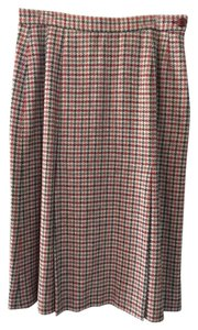 Jaeger Skirt Tan/Burgandy Houndstooth