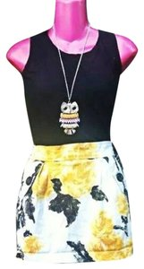 Genevieve Gozum short dress printed yellow black in white bottom on Tradesy