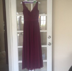 BHLDN Black Cherry Nylon Tulle Lace Polyester Lining Feminine Bridesmaid/Mob Dress Size 2 (XS)