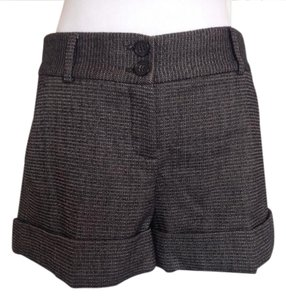 Theory Wool Spandex Winter Herringbone Dress Shorts Heather Grey