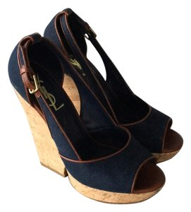 Saint Laurent Navy Wedges