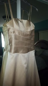 Alfred Angelo Champagne Satin Style 6333 Traditional Bridesmaid/Mob Dress Size 2 (XS)