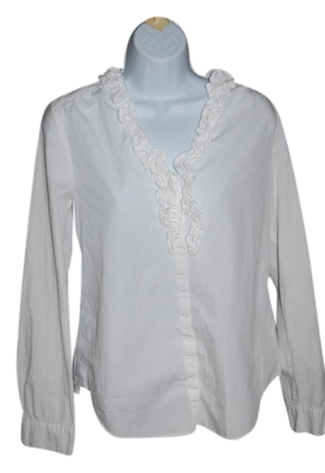 d5ccd430d Ann Taylor LOFT Ruffle V-neck Long Sleeve Button Down Shirt white Image 0  ...