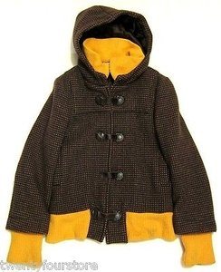 Alice + Olivia Hooded Snap Toggle Wool Blend In Yellow Brown Jacket