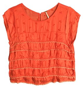 Free People Top Coral Red