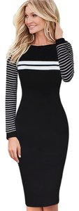 VfEmage Elegant Sheath Striped Patchwork Pencil Dress