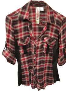 Fresh Brewed Sleeve Color Block Shirt Button Front Pocket Roll Up Sleeve Collar V Neck Black Burgundy Brown Off White Gun Metal Grl Button Down Shirt Plaid