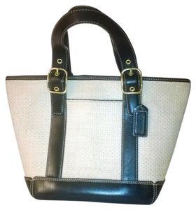 Coach Leather Basket Weave Tote in beige and black