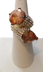 Venetian Citrine 2-Stone with Rhinestone Yellow Gold Plated Ring