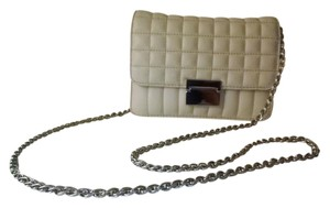 J.Crew Quilted Leather Silver Clutch Cross Body Bag