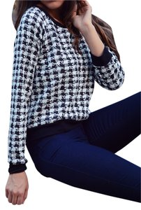 2 LOVE ONE Checkered Edgy Mod Cute Chic Detail Sweater