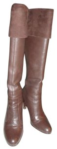 Ralph Lauren 5.5 Beatrice 802083538 Leather Suede Cuff Wooded Sacked Heel Brown Boots