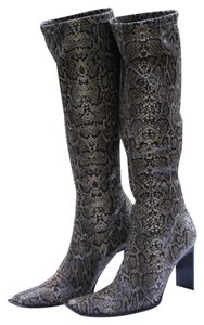 STRATEGIA Kneehigh Stretch Black, Grey, Beige Snakeskin Boots