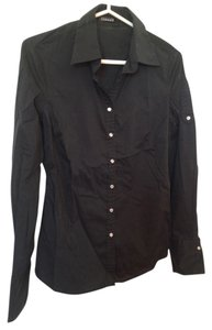 Tahari Snap Buttons Longsleeve Button Down Shirt Black
