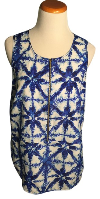 Preload https://img-static.tradesy.com/item/13274968/michael-kors-bluewhite-zipper-blouse-size-8-m-0-1-650-650.jpg