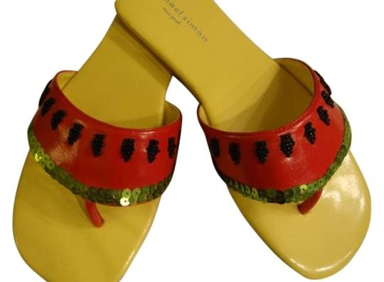 Preload https://item5.tradesy.com/images/michael-simon-yellow-and-red-flat-sandalwatermelonyellow-and-flat-leather-thong-toe-black-beads-as-s-132764-0-0.jpg?width=440&height=440
