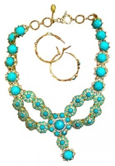 Preload https://img-static.tradesy.com/item/132765/turquoise-crystal-shelter-necklace-and-watermill-hoop-earrings-0-0-540-540.jpg