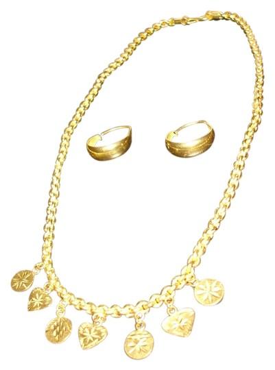 Preload https://item3.tradesy.com/images/pure-gold-24-karat-solid-and-earrings-from-dubai-22-grams-necklace-13277152-0-2.jpg?width=440&height=440