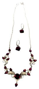 Garnet and Silver Necklace and Earring Set