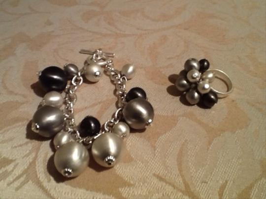 Siver Toggle Silver Beaded Bracelet/Ring