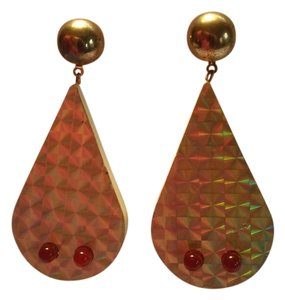 Gold Hologram Red Blinking Teardrop Pierced Dangle Drop Earrings