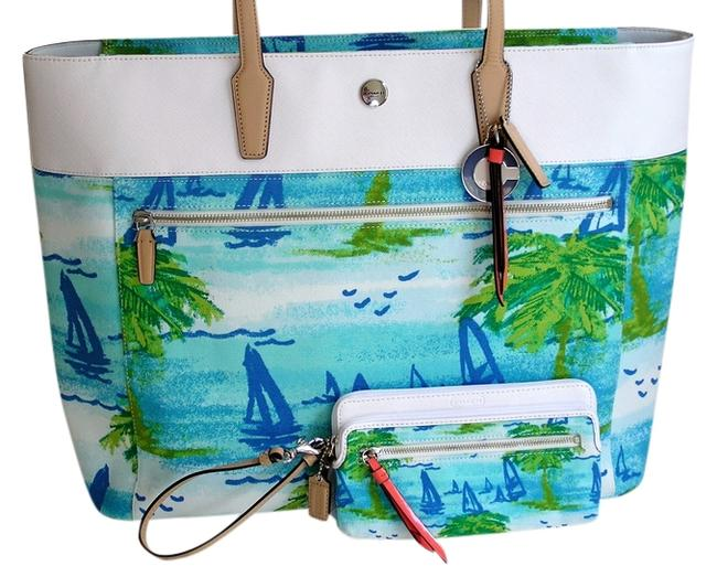 Item - Tote Resort Wristlet / Wallet - 2 Piece Set - Sail Boat Palm Tree New Blue Green White Canvas and Leather Beach Bag