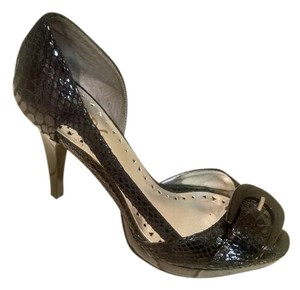 BCBGMAXAZRIA Snakeskin Open Toe Pump Black Sandals