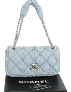 Chanel Chain Strap Front Lock Blue Silver Hardware Shoulder Bag