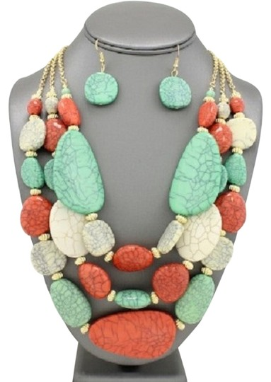 Preload https://img-static.tradesy.com/item/13282594/turquoise-gold-coral-cream-and-earrings-necklace-0-1-540-540.jpg