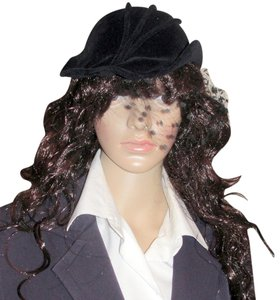 French French Felt Vintage Riding Cap Lace Hat from France